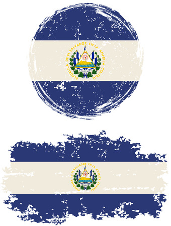 cleaned: El Salvador round and square grunge flags. Vector illustration. Grunge effect can be cleaned easily. Illustration