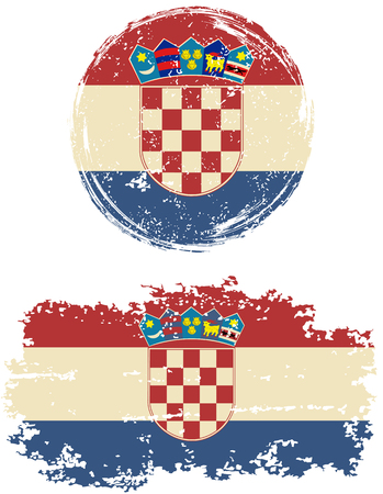 old flag: Croatian round and square grunge flags. Vector illustration. Grunge effect can be cleaned easily. Illustration