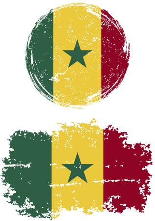 senegalese: Senegalese round and square grunge flags. Vector illustration. Grunge effect can be cleaned easily.