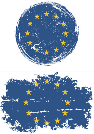 cleaned: European Union round and square grunge flags. Vector illustration. Grunge effect can be cleaned easily.