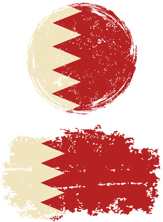 easily: Bahraini round and square grunge flags. Vector illustration. Grunge effect can be cleaned easily. Illustration