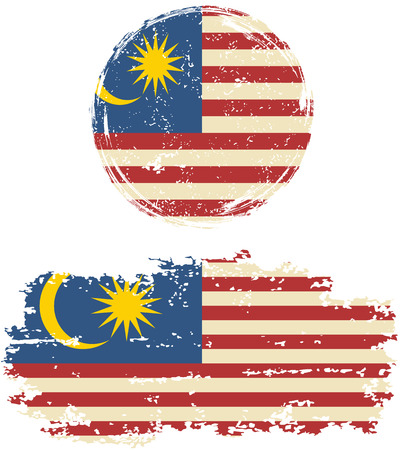 Malaysian round and square grunge flags. Vector illustration. Grunge effect can be cleaned easily. Illustration