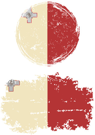maltese: Maltese round and square grunge flags. Vector illustration. Grunge effect can be cleaned easily.