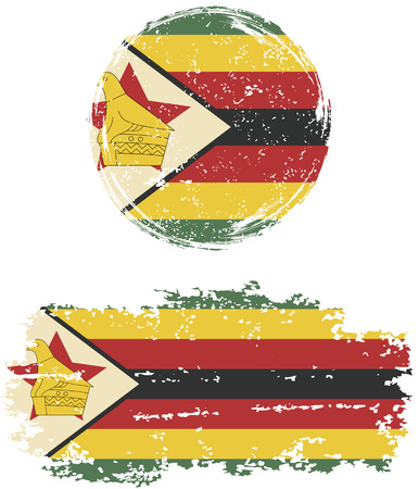 cleaned: Zimbabwean round and square grunge flags. Vector illustration. Grunge effect can be cleaned easily.