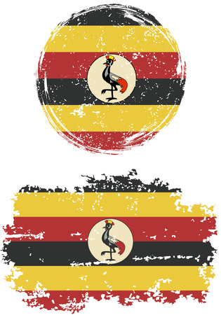 ugandan: Ugandan round and square grunge flags. Vector illustration. Grunge effect can be cleaned easily.