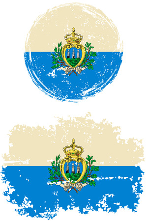 cleaned: San Marino round and square grunge flags. Vector illustration. Grunge effect can be cleaned easily. Illustration