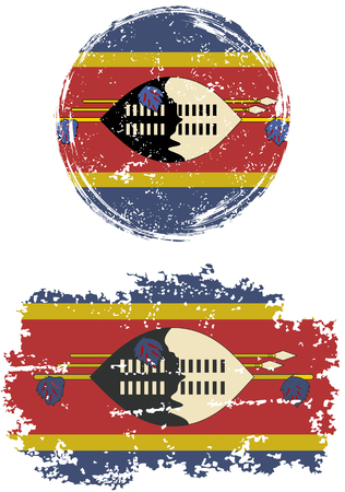 cleaned: Swaziland round and square grunge flags. Vector illustration. Grunge effect can be cleaned easily.