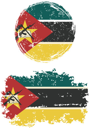 cleaned: Mozambique round and square grunge flags. Vector illustration. Grunge effect can be cleaned easily.