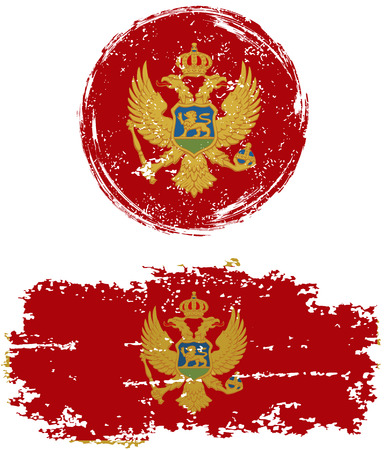 cleaned: Montenegrin round and square grunge flags. Vector illustration. Grunge effect can be cleaned easily.