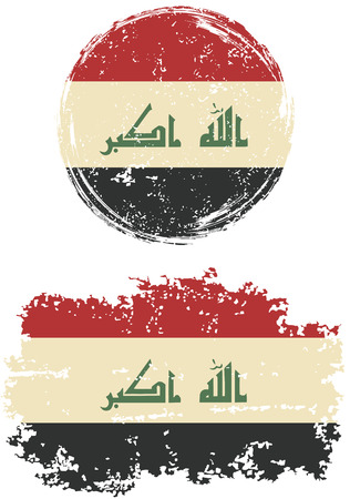 iraqi: Iraqi round and square grunge flags. Vector illustration. Grunge effect can be cleaned easily.