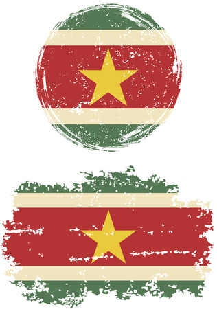 cleaned: Surinamese round and square grunge flags. Vector illustration. Grunge effect can be cleaned easily.