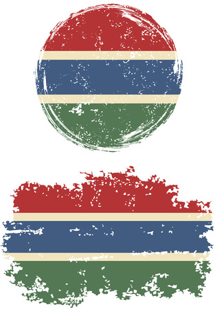cleaned: Gambian round and square grunge flags. Vector illustration. Grunge effect can be cleaned easily.