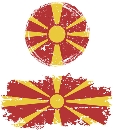 cleaned: Macedonian round and square grunge flags. Vector illustration. Grunge effect can be cleaned easily.