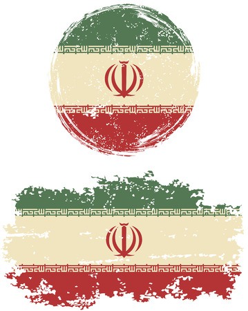 cleaned: Iranian round and square grunge flags. Vector illustration. Grunge effect can be cleaned easily.