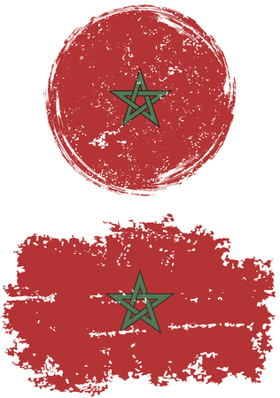 cleaned: Moroccan round and square grunge flags. Vector illustration. Grunge effect can be cleaned easily.