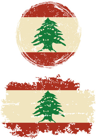 lebanese: Lebanese round and square grunge flags. Vector illustration. Grunge effect can be cleaned easily.