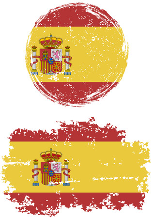 vintage retro frame: Spanish round and square grunge flags. Vector illustration. Grunge effect can be cleaned easily. Illustration