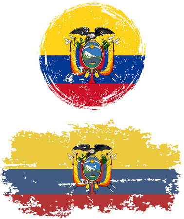 cleaned: Ecuadorian round and square grunge flags. Vector illustration. Grunge effect can be cleaned easily.