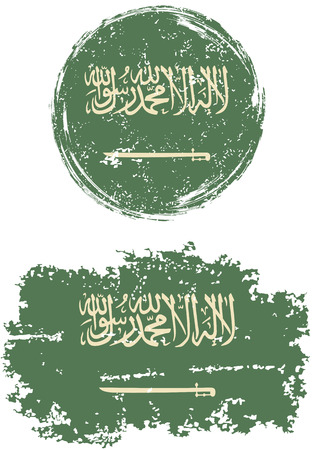 cleaned: Saudi Arabia round and square grunge flags. Vector illustration. Grunge effect can be cleaned easily.