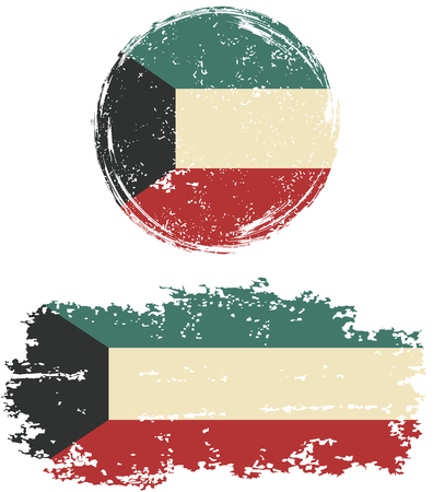 old flag: Kuwait round and square grunge flags. Vector illustration. Grunge effect can be cleaned easily. Illustration