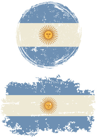 argentinean: Argentinean round and square grunge flags. Vector illustration. Grunge effect can be cleaned easily.
