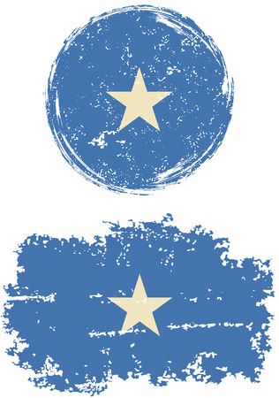 cleaned: Somalia round and square grunge flags. Vector illustration. Grunge effect can be cleaned easily. Illustration