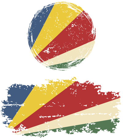 cleaned: Seychelles round and square grunge flags. Vector illustration. Grunge effect can be cleaned easily.