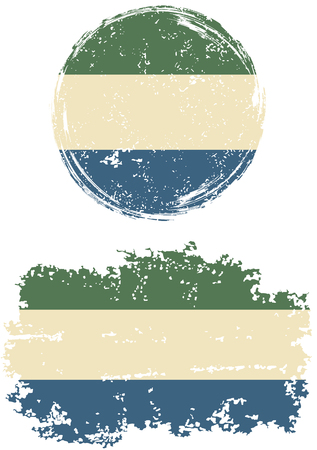 sierra: Sierra Leone round and square grunge flags. Vector illustration. Grunge effect can be cleaned easily.