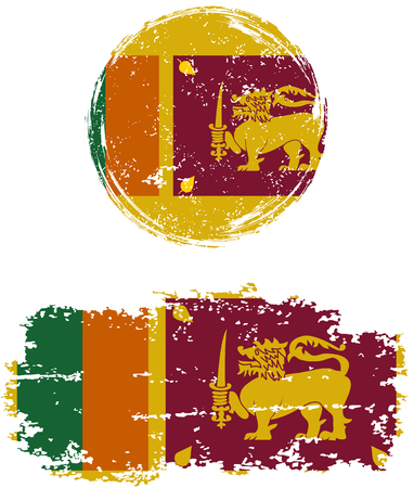 cleaned: Sri Lanka round and square grunge flags. Vector illustration. Grunge effect can be cleaned easily. Illustration