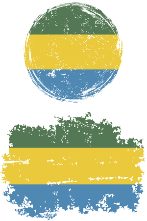 cleaned: Gabonese round and square grunge flags. Vector illustration. Grunge effect can be cleaned easily. Illustration