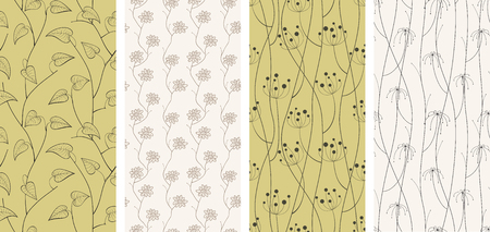 autumn fashion: Set of different seamless patterns backgrounds. Vector illustration.