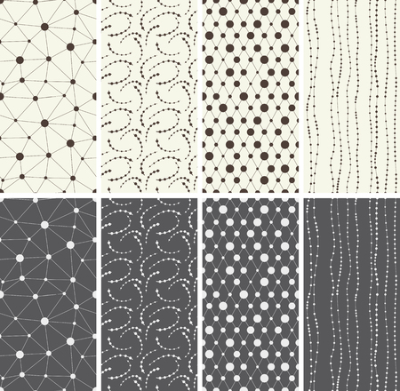 abstract waves background: Set of different seamless patterns backgrounds. Vector illustration.