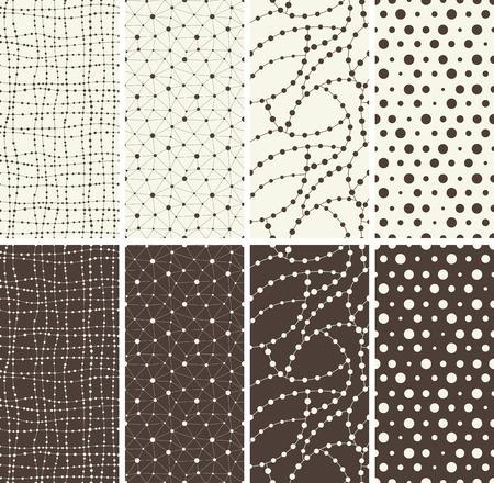 grunge wallpaper: Set of different seamless patterns backgrounds. Vector illustration.