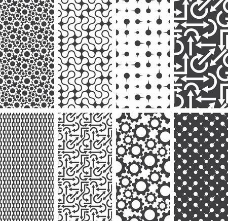 tela blanca: Conjunto de diferentes patrones sin fisuras antecedentes. Ilustraci�n del vector. Vectores