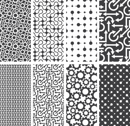 Set of different seamless patterns backgrounds. Vector illustration.