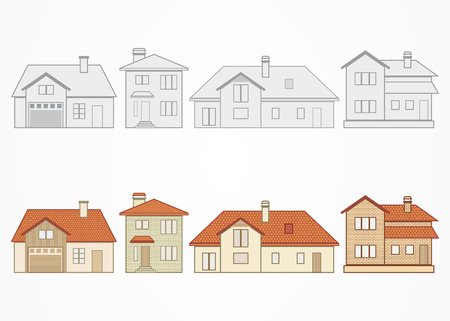Set of different suburban homes. Vector illustration.