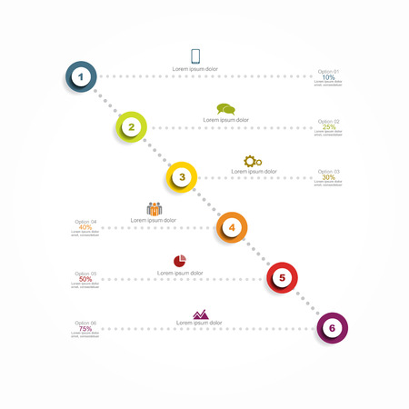 six web website: Infographic report template with place for your data. Vector illustration Illustration