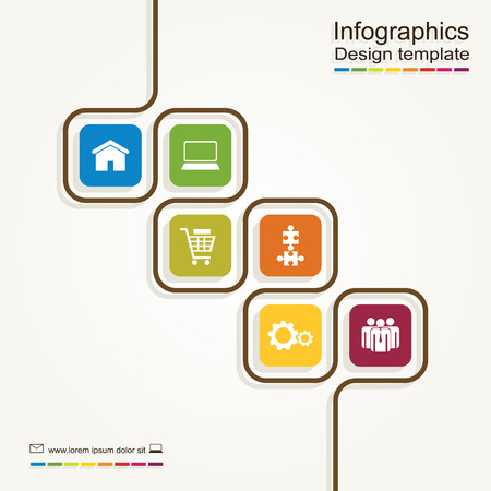 six: Infographic report template with place for your data. Vector illustration Illustration