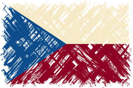 old flag: Czech grunge flag. Vector illustration. Grunge effect can be cleaned easily.