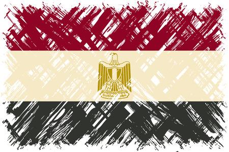 easily: Egyptian grunge flag. Vector illustration. Grunge effect can be cleaned easily.