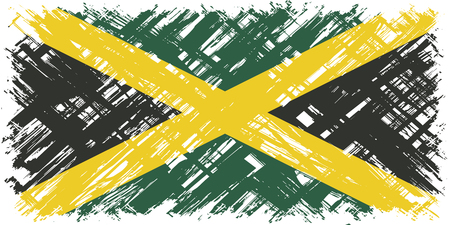 jamaican flag: Jamaican grunge flag. Vector illustration. Grunge effect can be cleaned easily.