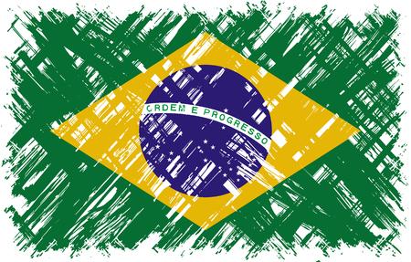cleaned: Brazilian grunge flag. Vector illustration. Grunge effect can be cleaned easily. Illustration