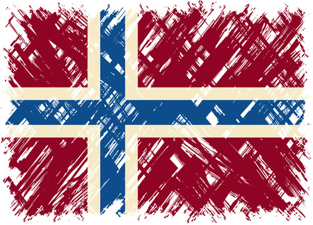 norwegian flag: Norwegian grunge flag. Vector illustration. Grunge effect can be cleaned easily.