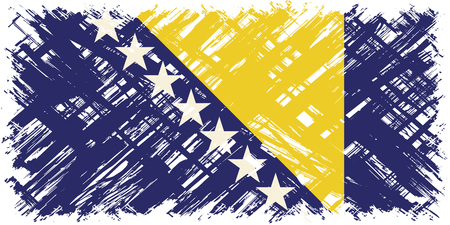 cleaned: Bosnia and Herzegovina grunge flag. Vector illustration. Grunge effect can be cleaned easily.