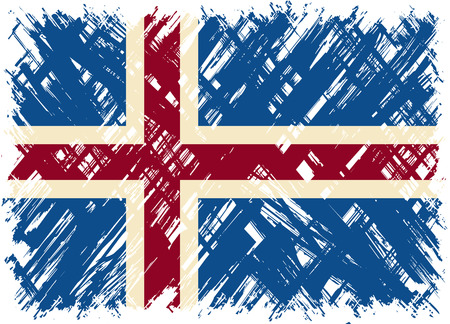 cleaned: Icelandic grunge flag. Vector illustration. Grunge effect can be cleaned easily.