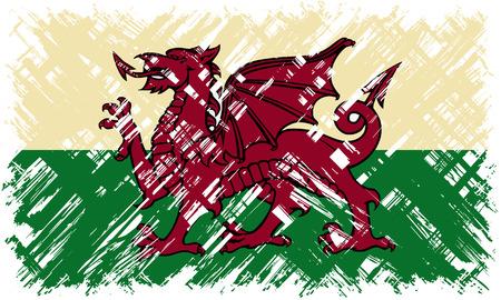 welsh flag: Welsh grunge flag. Vector illustration. Grunge effect can be cleaned easily. Vettoriali