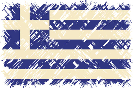 cleaned: Greek grunge flag. Vector illustration. Grunge effect can be cleaned easily.
