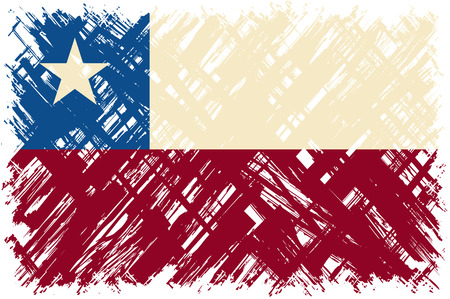 bandera chilena: grunge bandera chilena. Ilustración del vector. Efecto de grunge puede limpiarse fácilmente.