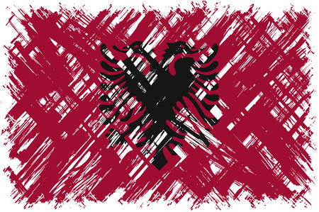 albanian: Albanian grunge flag. Vector illustration. Grunge effect can be cleaned easily.