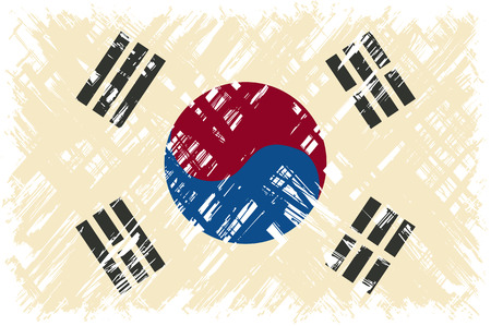 cleaned: South Korean grunge flag. Vector illustration. Grunge effect can be cleaned easily.